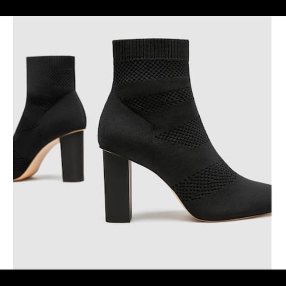 3efe54b3fae Zara fabric high heel ankle boot sz 8